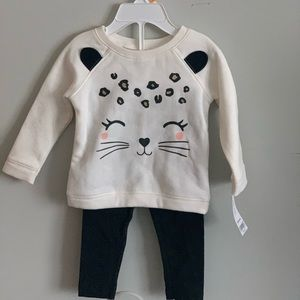 Carter's girls 12mo sweater and leggings set NWT